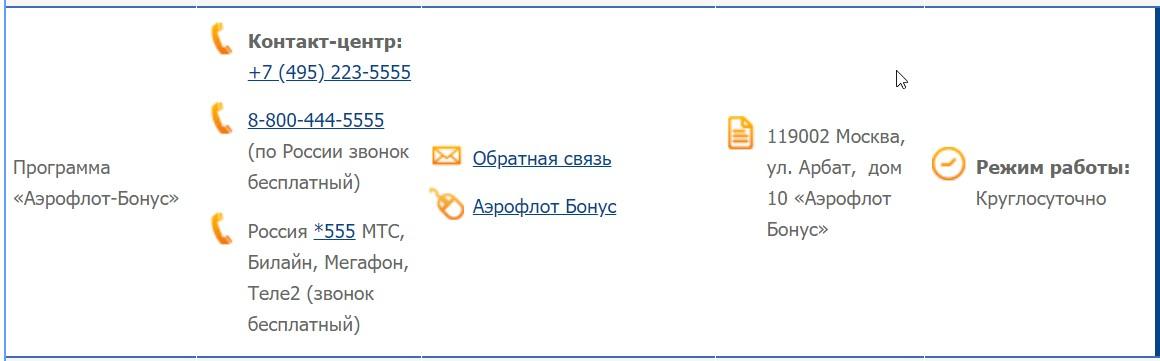 Ссылки и контакты на странице сайта «Обращение в авиакомпанию»